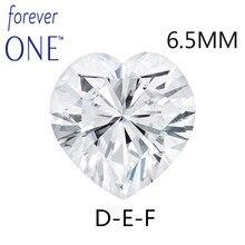 Charles Colvard Moissanite Loose Stones Heart Brilliant Cut 6.5mm 1Carat DEF Color VVS VS Test positive Lab Diamond Gemstone