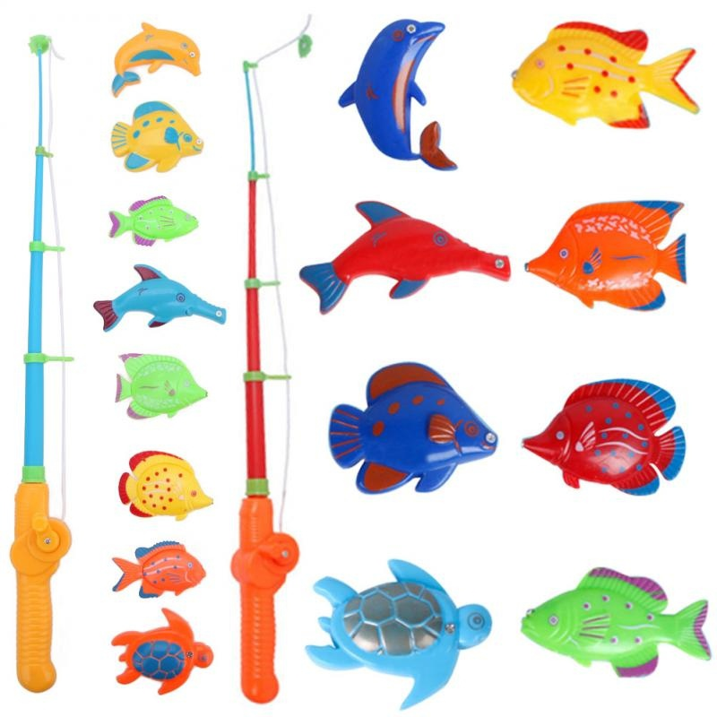 Magnetic 1 rod 8 fish catch hook pull baby children bath for Magnetic fishing pole