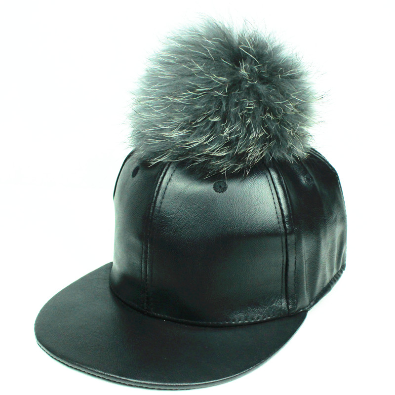 black leather baseball cap wholesale faux with fur pom fashion real mink poms ball hip hop hat caps