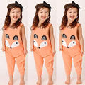 2016 wholesale lovely baby kids girl romper cartoon fox sleeveless romper clothes outfits 1-6Y