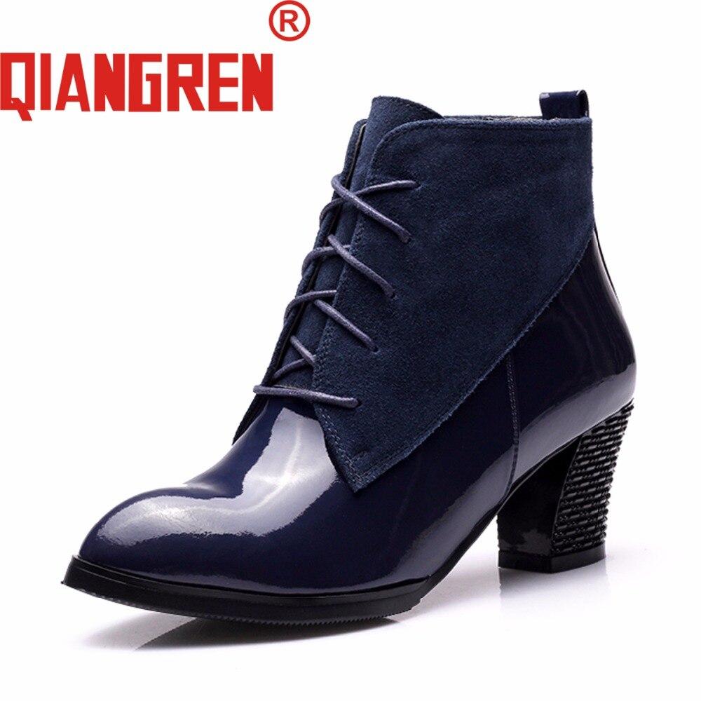 Partie En bleu Femme Automne Qiangren Femmes Bureau Neige direct Chaussures marron Bottes Véritable Robe Bleu De Noir Noir Cuir Hiver Militaire Usine xZRwqUZ
