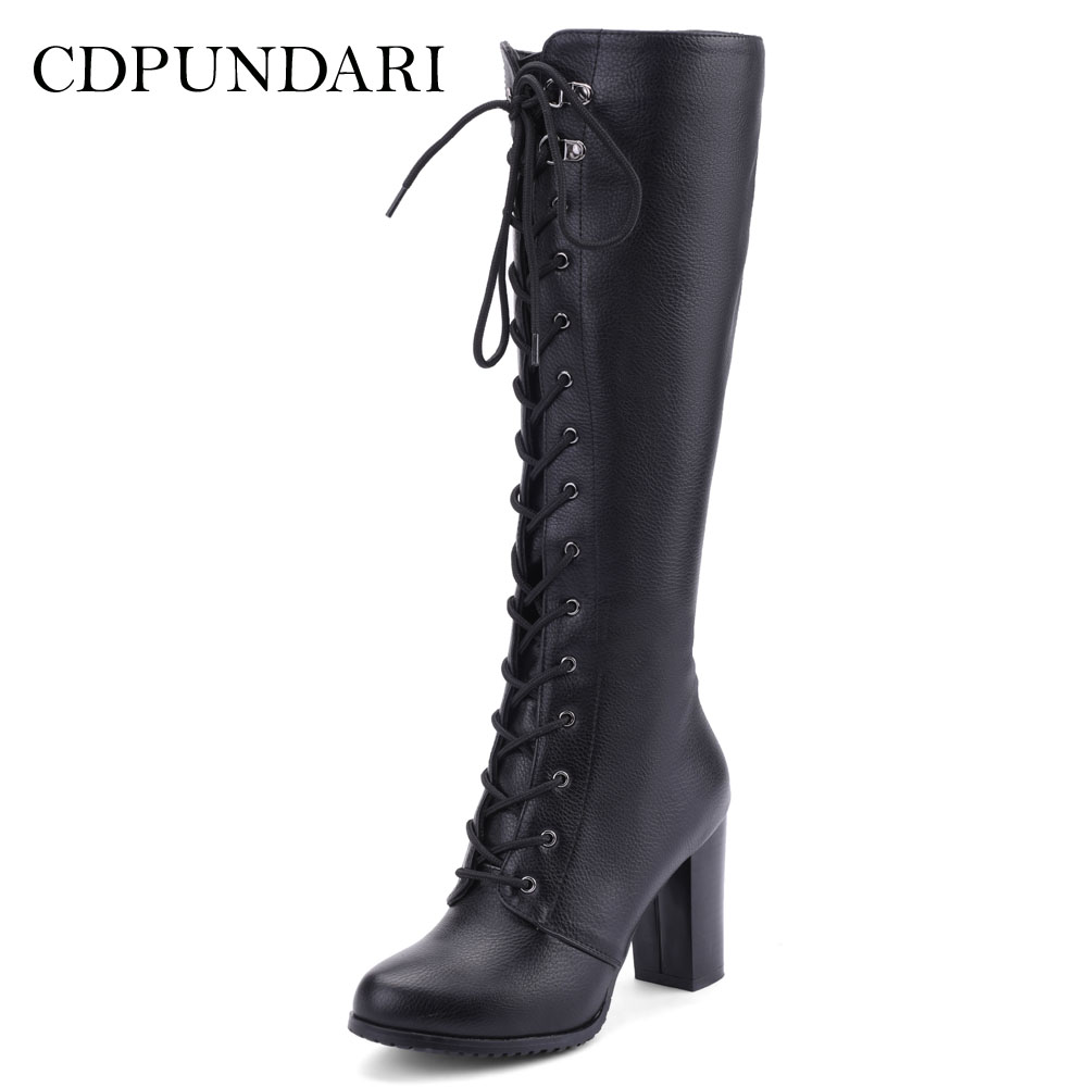 CDPUNDARI Round Toe Women Winter boots Cross tied Calf boots Ladies High heels bootsCDPUNDARI Round Toe Women Winter boots Cross tied Calf boots Ladies High heels boots