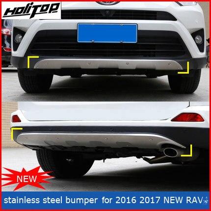 Anteriore e posteriore in acciaio inox paraurti della protezione skid piatto paraurti per Toyota RAV4 2016 2017, Hitop-5years esperienze SUV