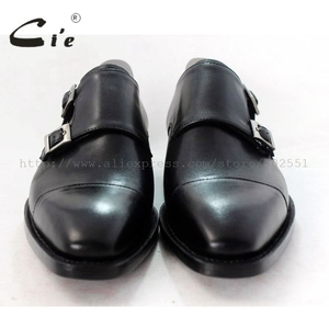 Image 4 - cie square captoe medallion double monk straps handmade leather men shoe100% genuine calf leather outsole breathable black MS46