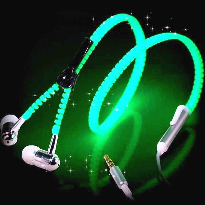 Glow Headphones Metal Zipper Luminous EarphonesFor IPhone Samsung Xiaomi Huawei LG Sony Mobile Phones B0