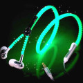 Glow Headphones Metal Zipper Luminous EarphonesFor IPhone Samsung Xiaomi Huawei LG Sony Mobile Phones B3