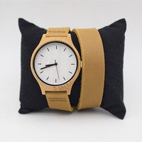 Bamboo Watch For Women With Japenese MIYOTA Movement Long Straps Leather Wristwatch For Christmas