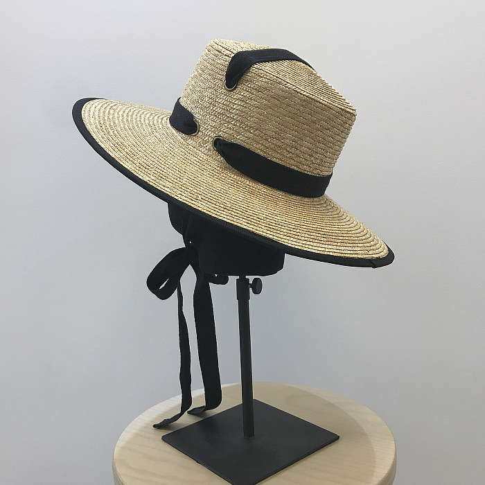 01908 yuan new handmade STRAW paper long black ribbon lady fedoras beach holiday hat women leisure panama cap in Women 39 s Fedoras from Apparel Accessories