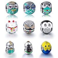 Sterling Silver Charms 925 Owl Chick Plutus Cat Charm Beads Animal Pendant Authentic Bracelet Berloque Diy