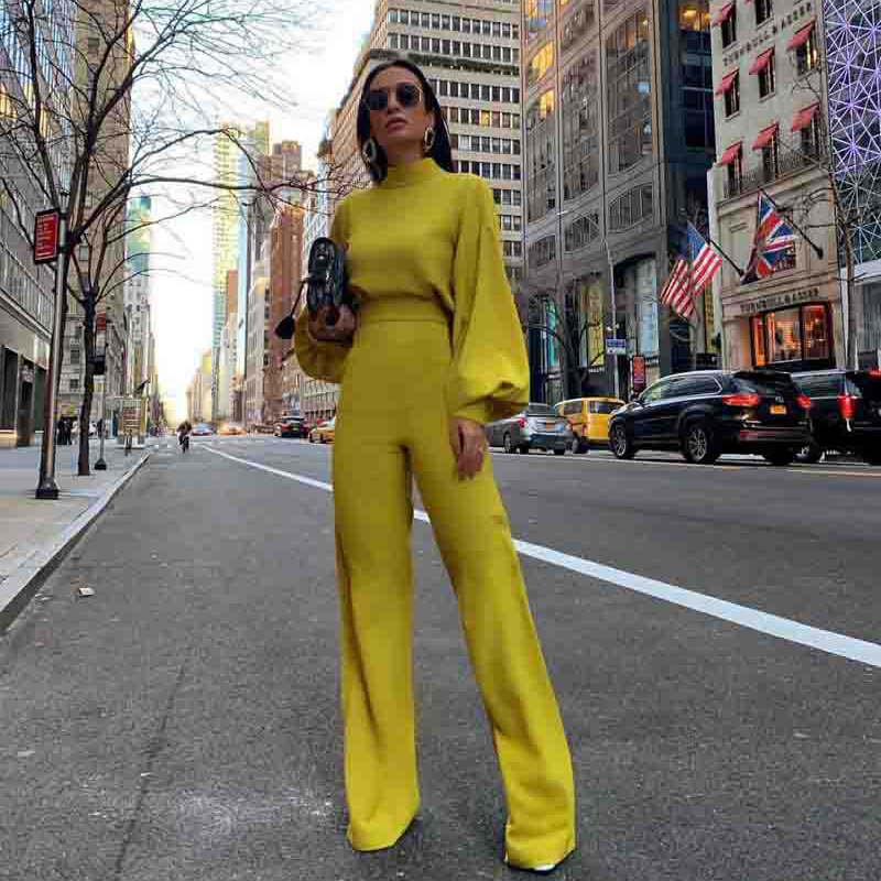 Office women's   jumpsuit   summer fall fashion simple temperament new lantern sleeves   jumpsuit   elegant high street style