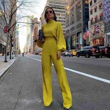 Office womens jumpsuit summer fall fashion simple temperament new lantern sleeves elegant high street style