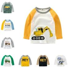 Kids Clothes Children Girls Boys T Shirt Baby T-shirts Excavator Print Long Sleeve Camiseta Tees Clothing Tops T-shirt Costume стоимость