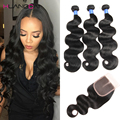 8A Brazilian Virgin Hair With Closure Brazilian Body Wave Human Hair 3 bundles With Closure Rosa Hair Products With Closure