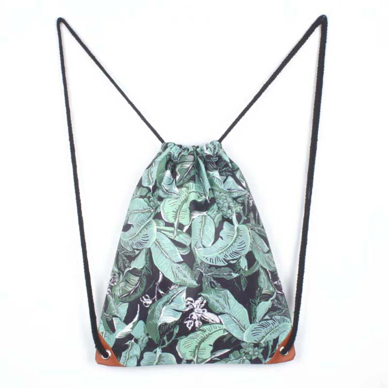 Laamei Fashion Backpack Women Leaves Printing Drawstring Shoulder Bag Casual Daypacks Backpack Mochilas Gift Female Travel Bag