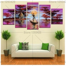 Diamond embroidery Fantasy fisherman's scenery 5Pcs 5d Diy diamond painting mosaic full resin rhinestone cross stitch needlework fullcang diy 5pcs full square diamond embroidery wolf and scenery diamond painting cross stitch 5d mosaic needlework kits d952