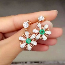 natural green emerald drop earrings 925 silver Natural gemstone earring women personality flower fine drop earrings for party