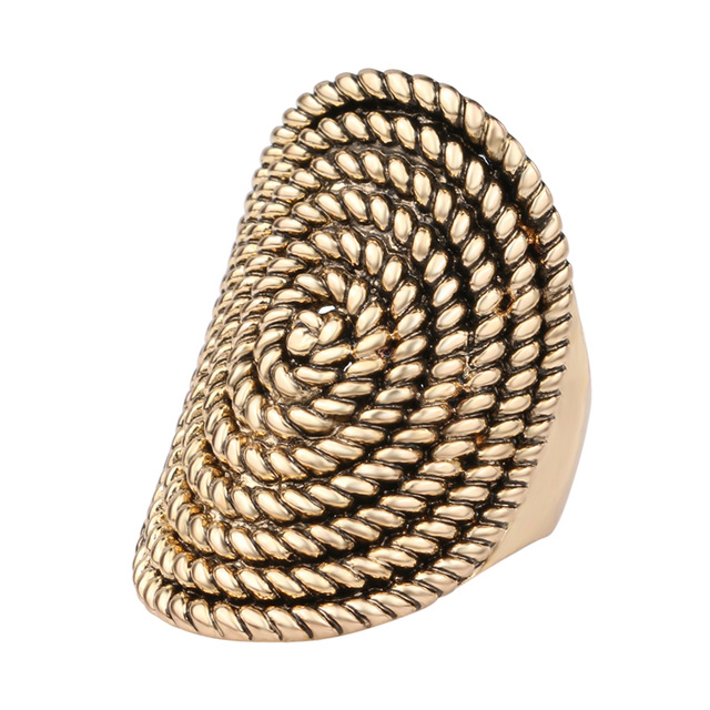 Gold Plated Oval Vintage Punk Rock Ring