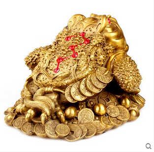 SCY 16504 + + + Feng Shui siete adornos de cobre de la suerte con tres sapo de oro