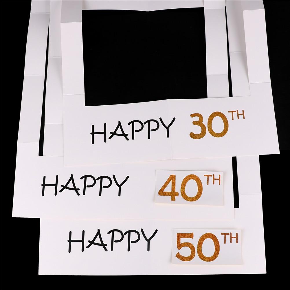 Weiß Rahmen 30/35/40/50th Glückliche Papier Photo Booth Props ...