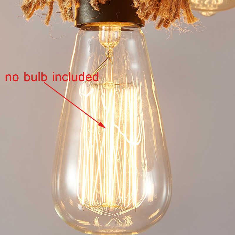 Промышленность 6 наконечника Лофт люстра Эдисона E27 светильники пеньковая веревка подвесная панель освещения для ресторана кафе столовая гостиная подвесной светильник