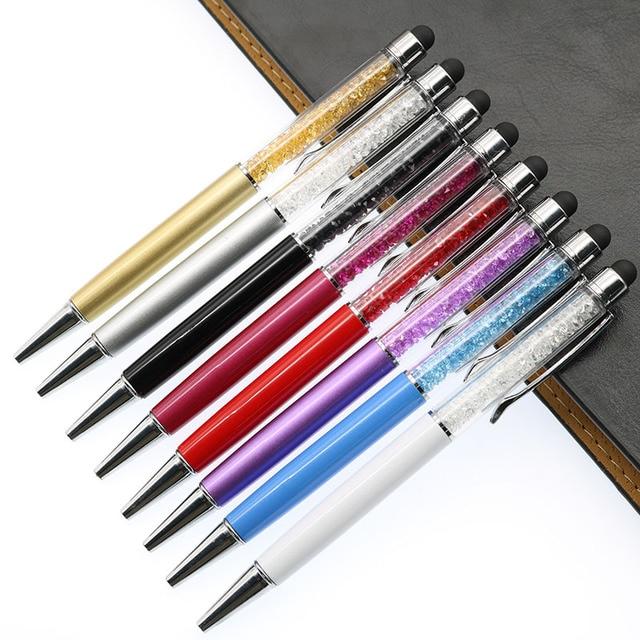 Bolígrafo de cristal de 14 colores a la moda lápiz táctil verde para escribir papelería de oficina y recarga negra de la escuela