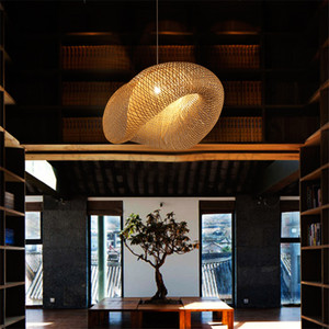 Image 3 - Creativas lámparas colgantes tejidas a mano de bambú, lámparas colgantes para restaurante con personalidad, barra de café, luces colgantes LED
