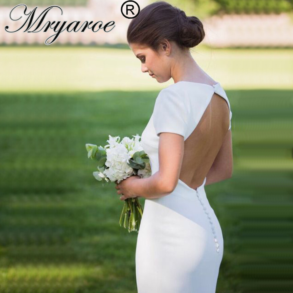 Discount Simple Elegant Open Back Long Sleeve Wedding: Mryarce Simple Elegant Crepe Wedding Dress With Short