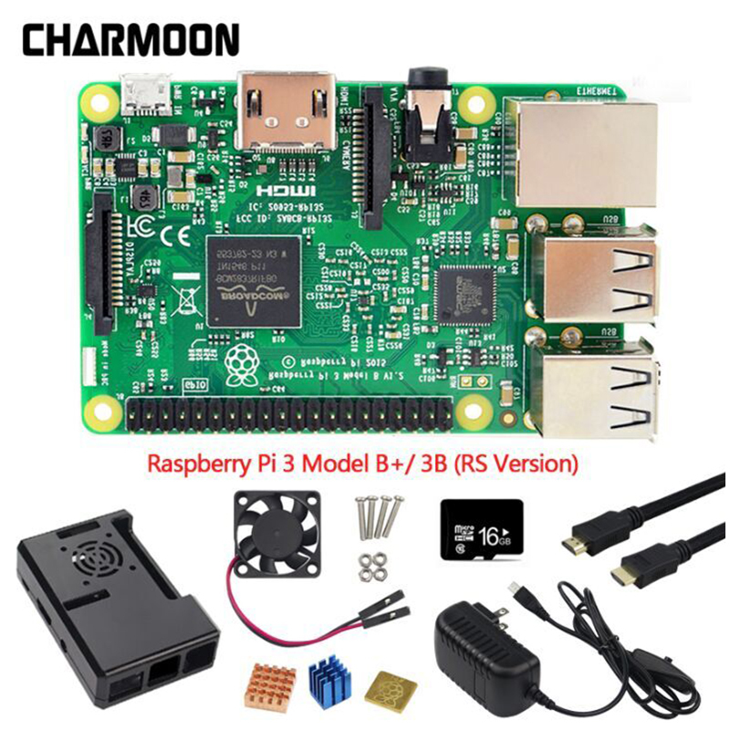 7 pièces Kit Combo Raspberry Pi 3 modèle B +/3B carte mère, carte MicroSD 16 go et adaptateur 5V 2.5A, dissipateurs, boîtier noir et câble HDMI