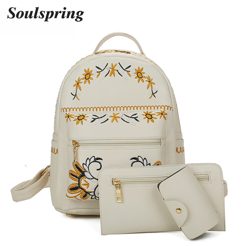 Fashion Flower 3Pcs/Set Small Women Backpacks School Bags For Teenage Girls Beige PU Leather Backpack Women Purse Sac A Dos 2018 dida bear brand women pu leather backpacks female school bags for girls teenagers small backpack rucksack mochilas sac a dos