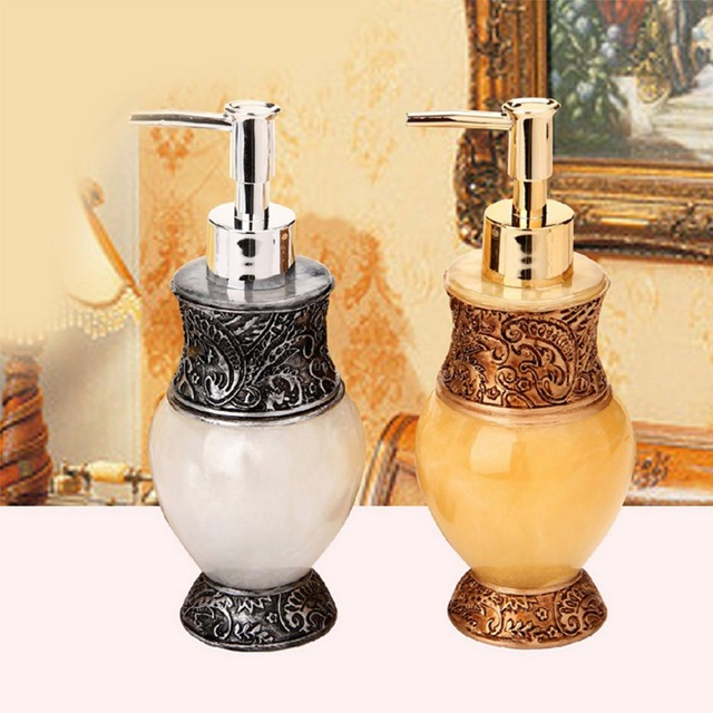 Elegant Diy Resin Yellow White Decorative Liquid Lotion Dispenser Art Craft Bathroom Kitchen Accessory Soap