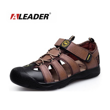 Mens Genuone Leather Walking Sandals Shoes New 2016 Summer Outdoor Sandals Shoes Slippers Beach Shoes Zapatos masculino
