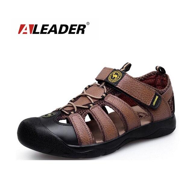 Mens Genuone Sandalias Zapatos Nuevos 2016 Sandalias de Verano Al Aire Libre Zapatos Para Caminar de Cuero Zapatos Zapatos Zapatillas de Playa masculino