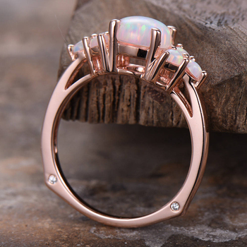 Natural 100% Oval Shape 8mm Austrialian Fire Opal Gemstone Ring in 14k Rose Gold with Gift Box For Women 1