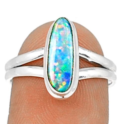 Natureza Australiano Opal Anel 100% Anel de Prata Esterlina 925, tamanho: 7.75, KR0272