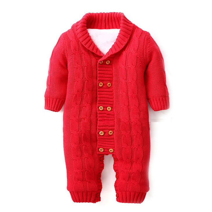 0-18M Winter Baby Sweater Cotton Thick V-neck Solid Knitwear Rompers Children Outerwear ABS-1531