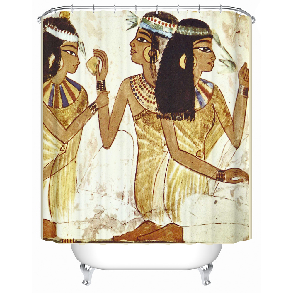 The Three Side-faced Women Wearing Earrings Are Talking About Something 3d Bathroom Waterproof Shower Curtain Person Pattern