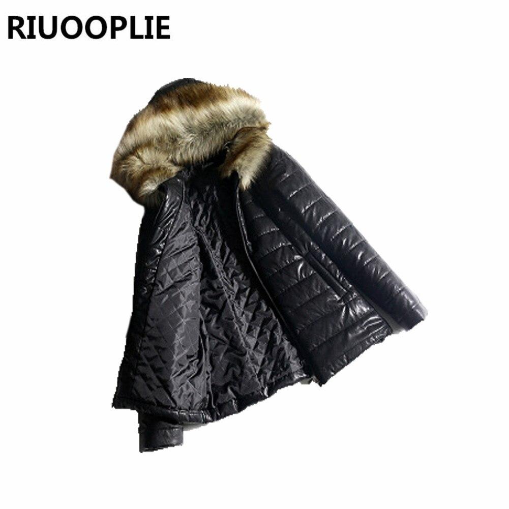 Fourrure Mince Rembourré Femmes Veste D'hiver Chaud Éclair Fermeture Court De Col Bulle Noir Matelassé IFI184