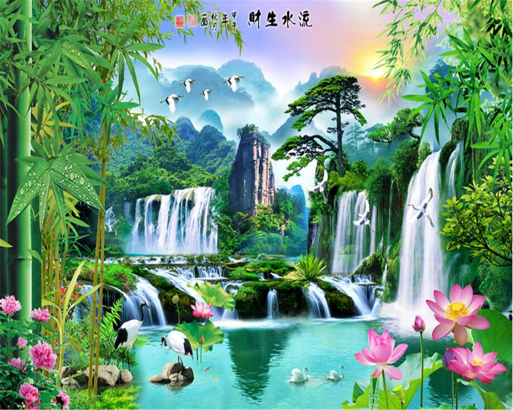 Beibehang 3d wallpaper nature painting bamboo lotus welcoming pine scenery landscape water TV background wall mural