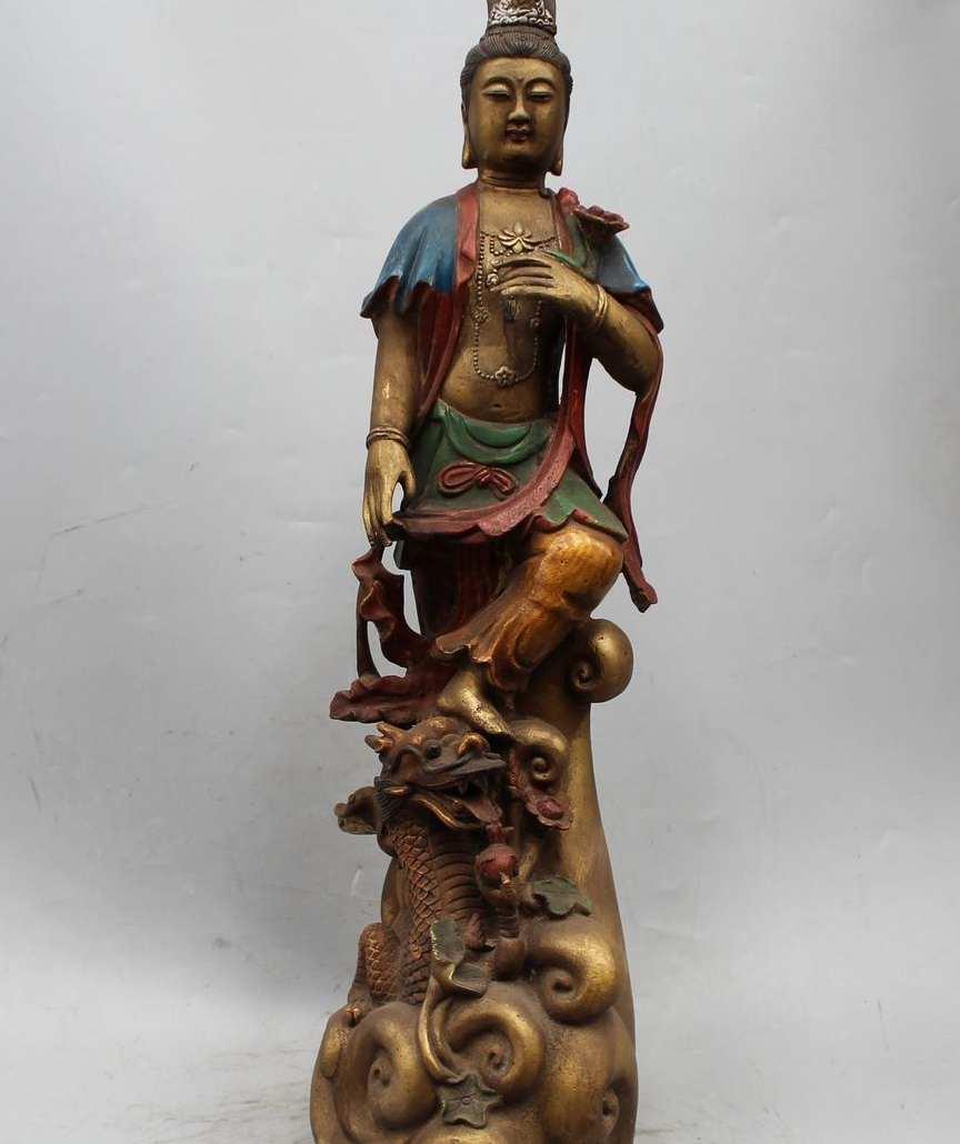 23 Chinese Buddhism Bronze Kwan-yin Guan Yin Goddess Dragon Vase Lotus Statue23 Chinese Buddhism Bronze Kwan-yin Guan Yin Goddess Dragon Vase Lotus Statue