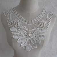 brand new fashion style white pearl embroidery lace collar applique DIY clothing sewing accessories Handicrafts YL662 1pcs sell