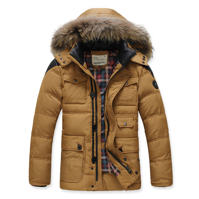 2016 New Fashion Winter Feather Jacket Military Parka Men White ...