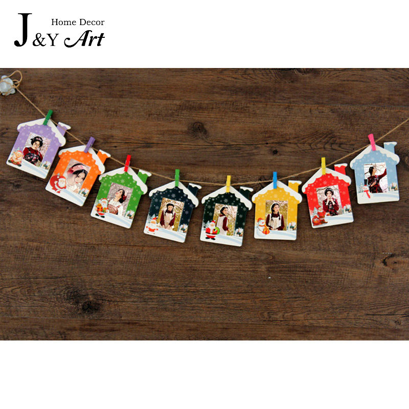 9 pcs/lot 3 Inch DIY Wall Hanging Colorfull  Christmas Hourse Paper Photo Frame For Pictures photo J&Y Art Home Decor JY-349