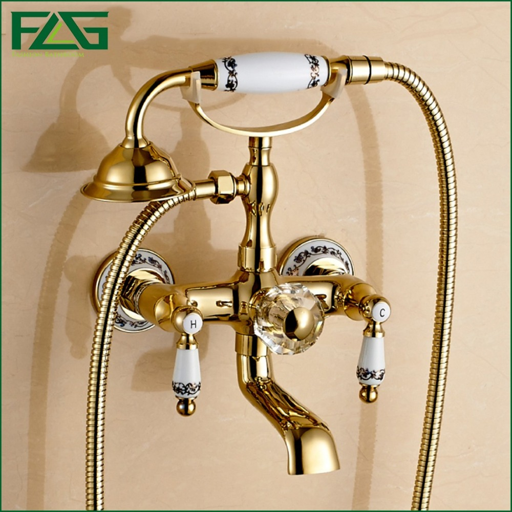 Gold bathroom faucets wholesale - Flg Free Shipping Bathroom Bath Wall Mounted Ceramic Handle Held Gold Plated Brass Shower Head Kit