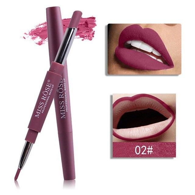 מיס רוז 14 צבע כפול סוף שפתונים שנמשך Lipliner עמיד למים מקצועי קרם אניה מקל עיפרון אלות מט