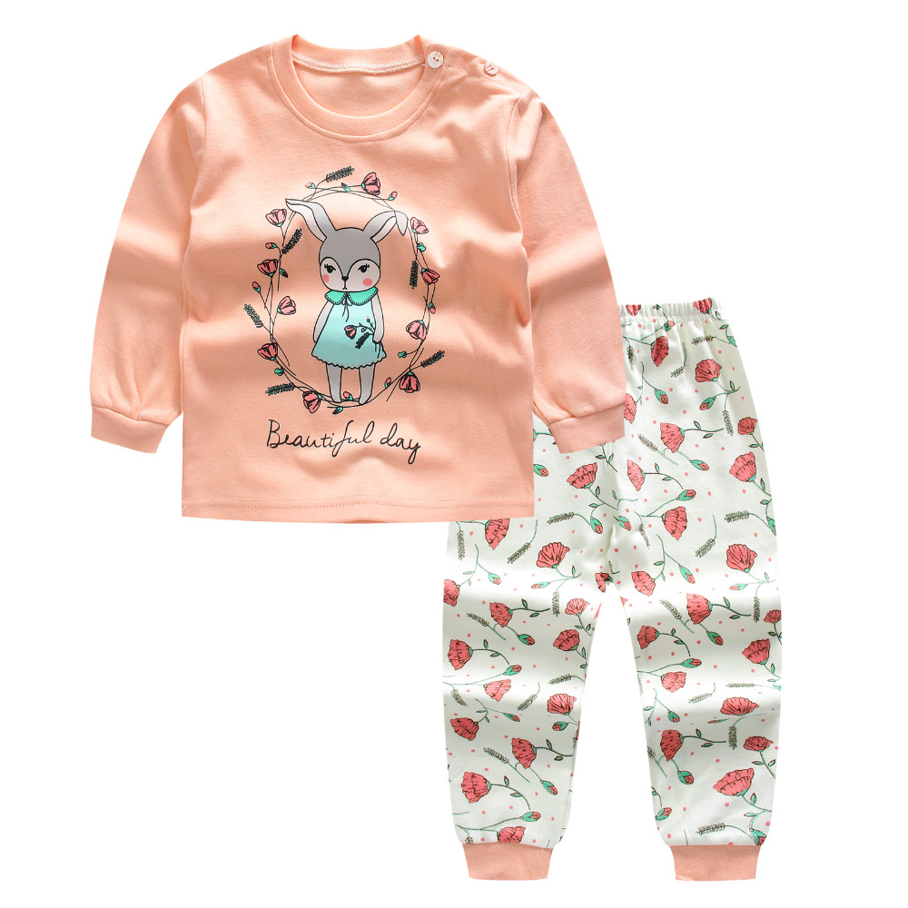 Pink Newborn Baby Girls Clothes Cute Smile rabbit Long sleeves+ Pant 2pcs autumn/spring Suit little girl Clothing Set Tracksuit