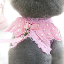 1Set Cute Angel Pet Dog Cat Safety Walking Vest Harness + Matching Lead Leash Angel Wings Costume Lace Design