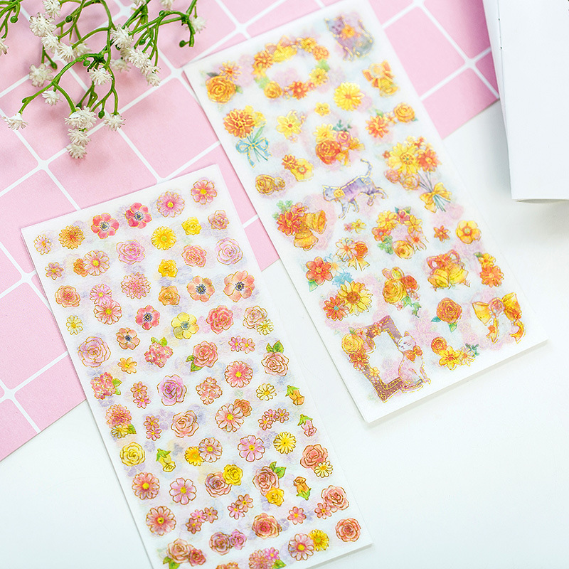 6 Sheets/pack Story Of Flowers And Cat Decorative Washi Stickers Scrapbooking Stick Label Diary Stationery Album Stickers