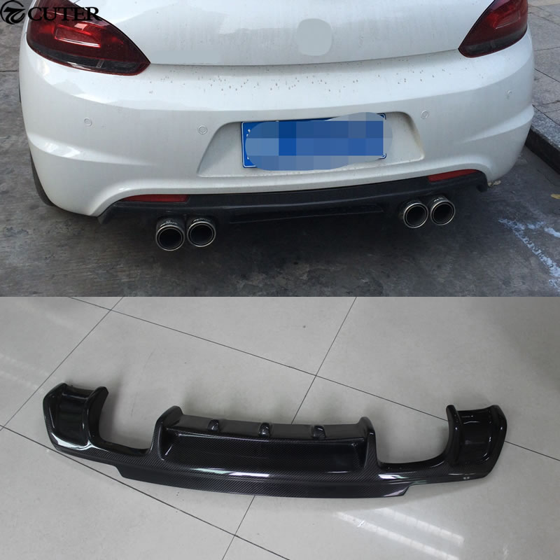 R-LINE Carbon Fiber Car Rear Bumper Lip diffuser Quad Exhaust for VW Scirocco R-line bum ...