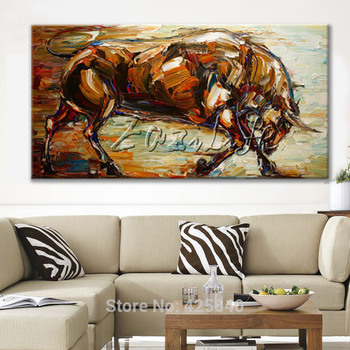 Bull Hand Painted Canvas Abstract Oil Paintings Animals Quadros Pop Art cuadros modern wall pictures for living room home decor