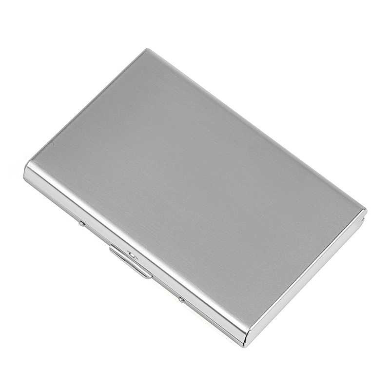 Moda aluminium antymagnetyczny posiadacz karty kobiety mężczyźni metalowa skóra bydlęca Rfid wizytowniki kart kredytowych organizator torebka portfel
